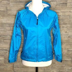 McKinley blue packable rain jacket